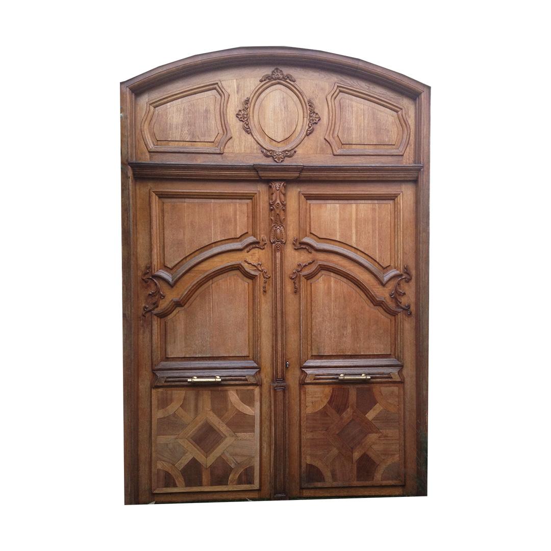 porte en ch ne massif avec incrustation de bois exotique dk compagnie. Black Bedroom Furniture Sets. Home Design Ideas